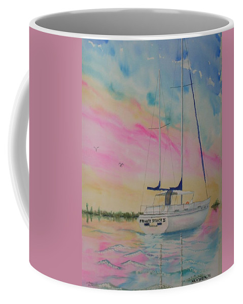 Sunset Sail 3 Coffee Mug featuring the painting Sunset Sail 3 by Warren Thompson