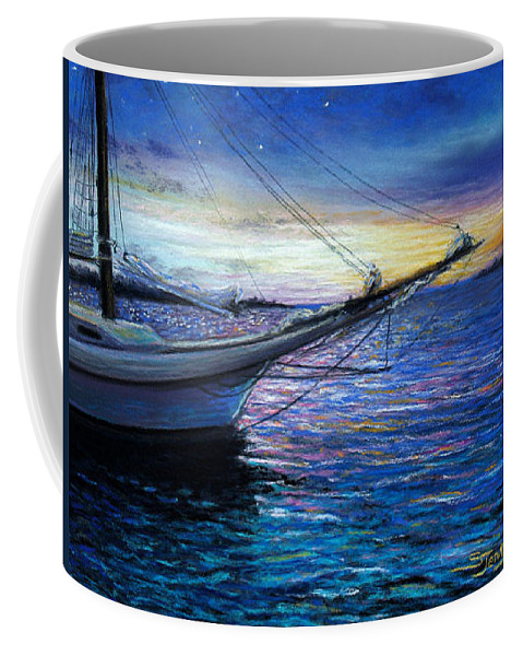 Landscape Coffee Mug featuring the painting Sunset Sail On Key West by Susan Jenkins