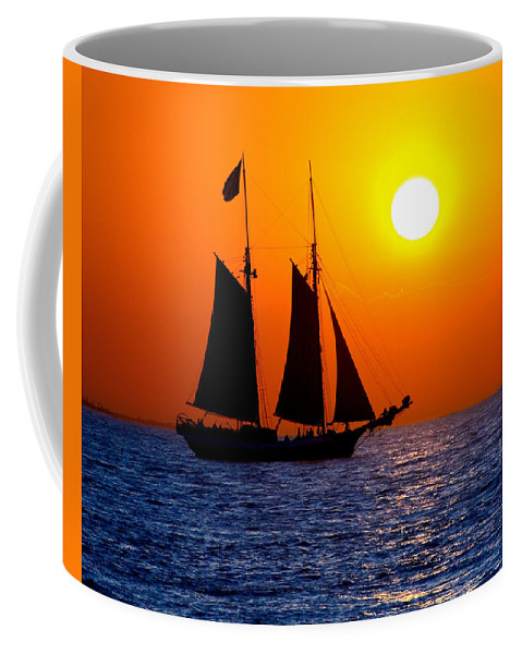 Yellow Coffee Mug featuring the photograph Sunset Sailing In Key West Florida by Michael Bessler