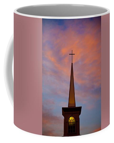 Church Coffee Mug featuring the photograph Sunset Steeple by Toni Hopper