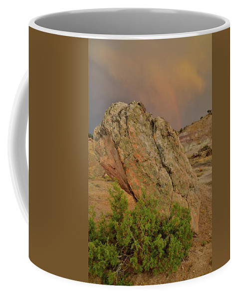 Little Park Road Bentonite Site Coffee Mug featuring the photograph Sunset Storm Over Bentonite Site Boulders by Ray Mathis