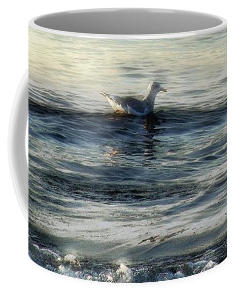 Sea Coffee Mug featuring the painting Sunset Swim by RC DeWinter