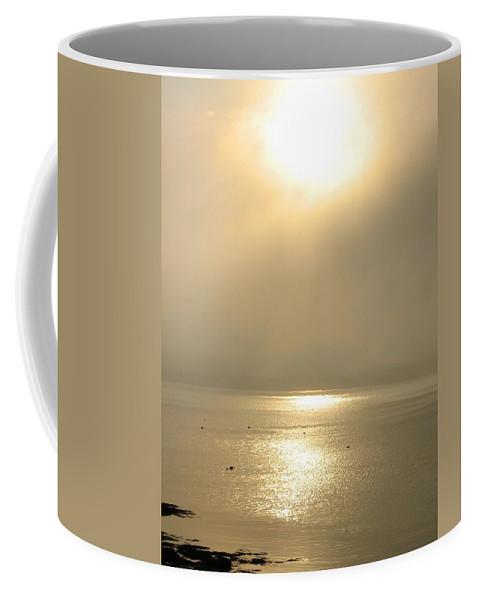 Sun Coffee Mug featuring the photograph Sunset Through Fog by Kelly Mezzapelle