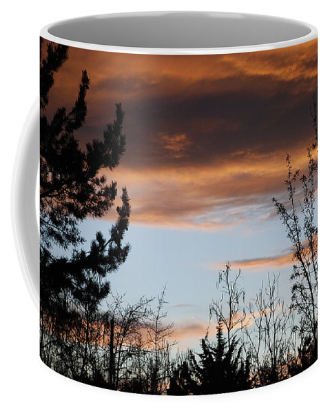 Sunset Coffee Mug featuring the photograph Sunset Thru The Trees by Rob Hans