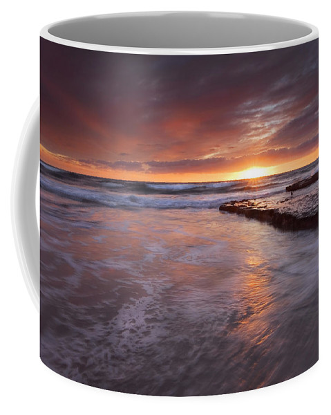 A Glorious Sunset Off The Coast Of San Diego Coffee Mug featuring the photograph Sunset Tides by Mike Dawson