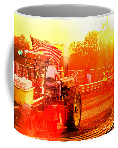Tractor Coffee Mug featuring the photograph Sunset Tractor Pull by Olivier Le Queinec