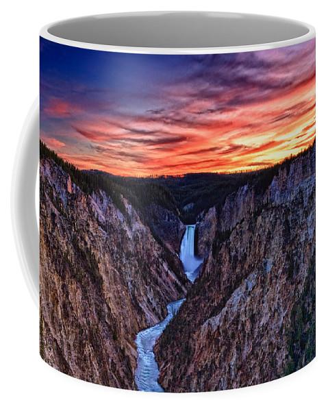 Nature Coffee Mug featuring the photograph Sunset Waterfall by John K Sampson