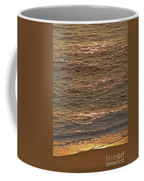 Golden Coffee Mug featuring the photograph Sunset Waves Over Carmel Beach by Charlene Mitchell