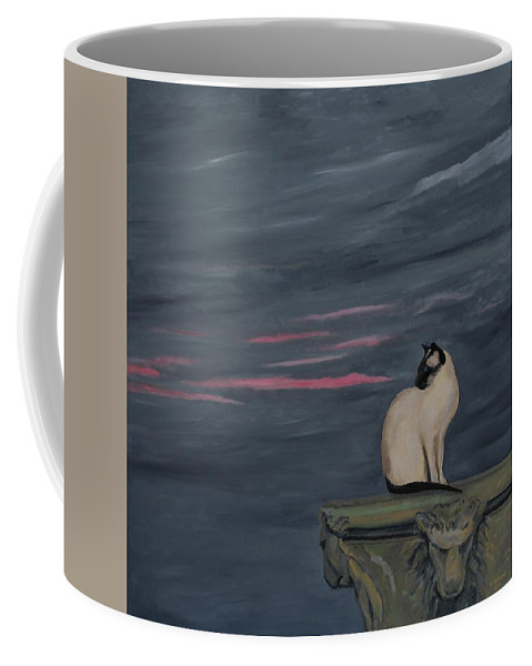 Cat Coffee Mug featuring the painting Sunset With A Siamese Cat On A Balustrade by Robert Harris