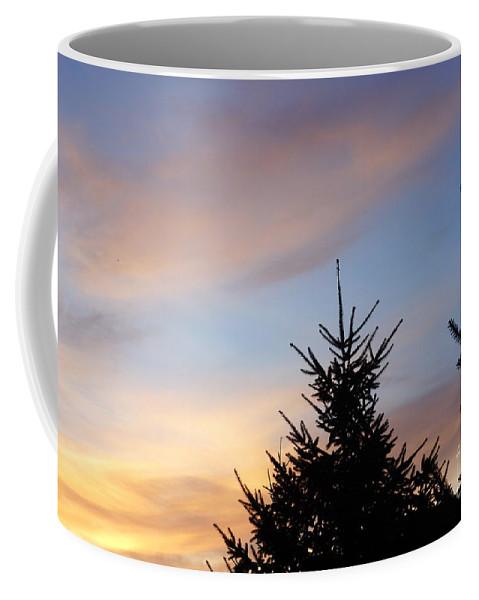 Sunset With Two Pine Trees Coffee Mug featuring the photograph Sunset With Two Pine Trees by Alice Heart