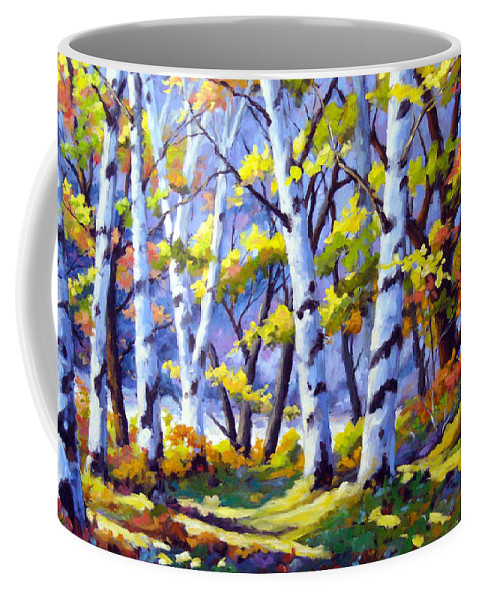 Art Coffee Mug featuring the painting Sunshine And Birches by Richard T Pranke