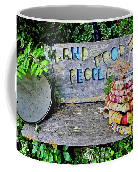 Colorful Coffee Mug featuring the painting Sunshine Bench by Joan Reese