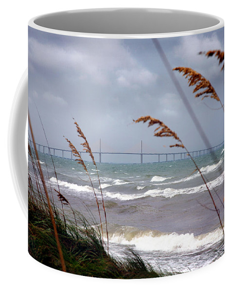 Sunshine Coffee Mug featuring the photograph Sunshine Skyway Bridge Viewed From Fort De Soto Park by Mal Bray