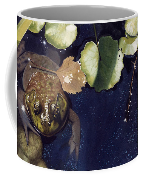 Frog Coffee Mug featuring the painting Sunspots by Denny Bond