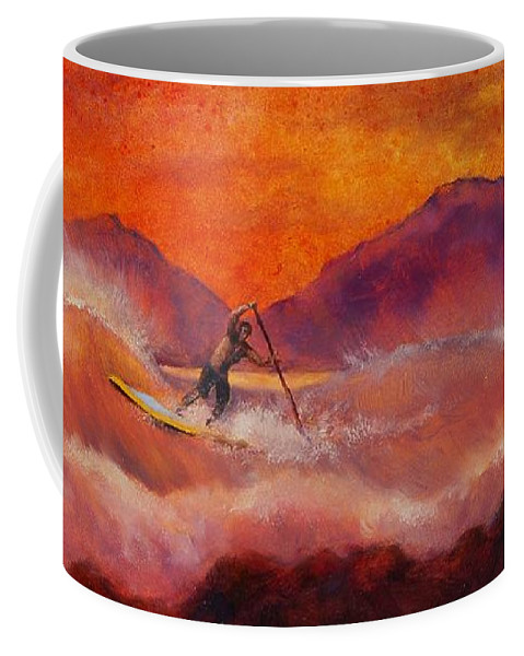 Standup Paddleboarding Coffee Mug featuring the painting S.u.p. by Lynee Sapere