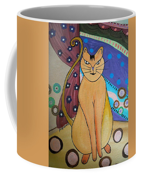 Poodle Coffee Mug featuring the painting Super-cat by Pristine Cartera Turkus