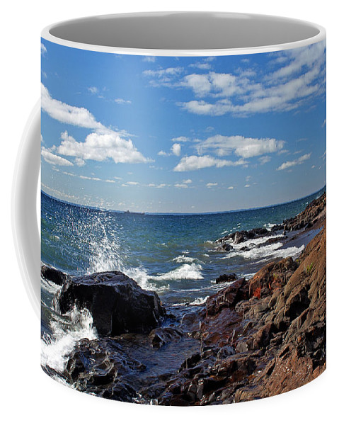 Shore Line Coffee Mug featuring the photograph Superior Shore by Bill Morgenstern