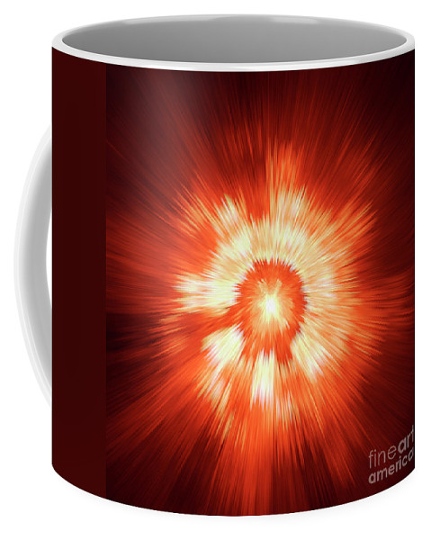 Supernova Genesis Big Bang Ray X-ray Explosion Abstract Beam Universe Expressionism Dynamic Energy Power Color Colorful Red Yellow Modern Sun Sf Coffee Mug featuring the digital art Supernova 2 by Steve K