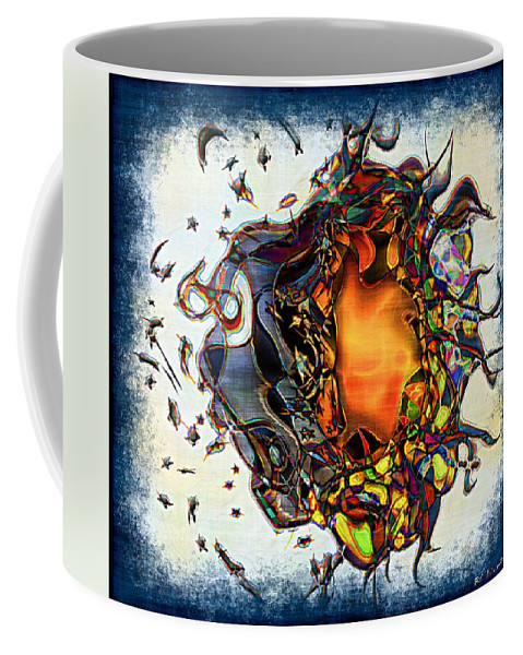 Abstract Coffee Mug featuring the painting Supernova In Harlequin by RC deWinter