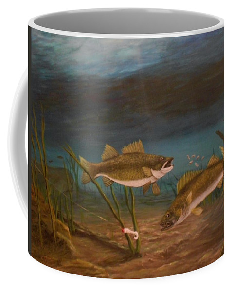 Underwater Coffee Mug featuring the painting Supper Time by Sheri Keith