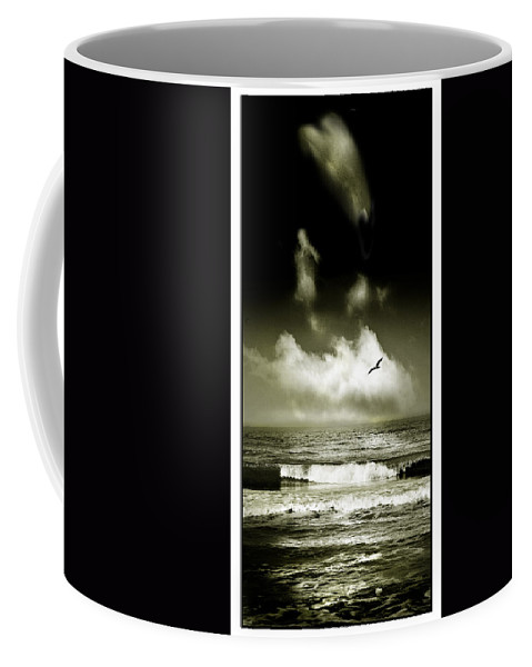 Waves Coffee Mug featuring the photograph Surf And Sky At Rhos On Sea North Wales by Mal Bray