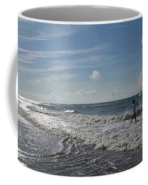Ocean Coffee Mug featuring the photograph Surf Fisherman by Aaron Shortt