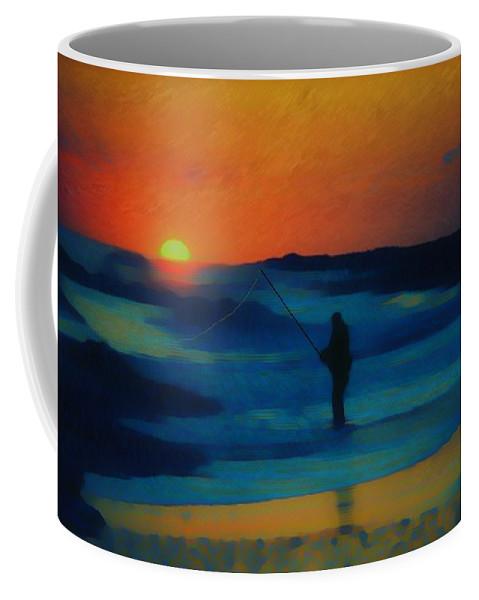 Digital Photograph Coffee Mug featuring the photograph Surf Fishing by David Lane