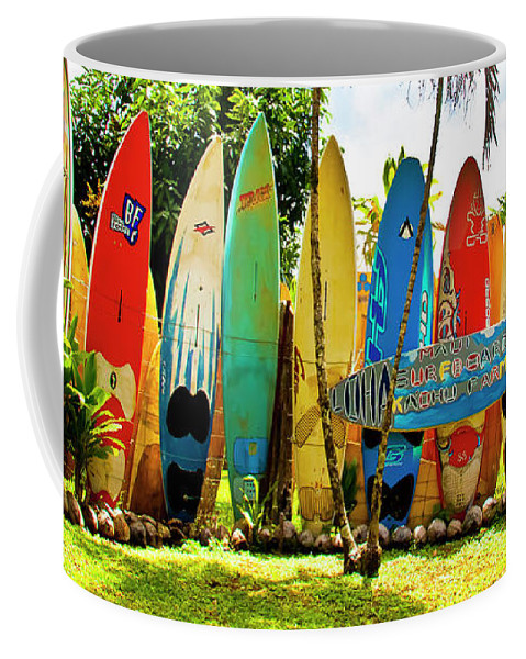 Surfboard Coffee Mug featuring the photograph Surfboard Fence II-the Amazing Race by Jim Cazel