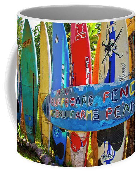 Surfboards Coffee Mug featuring the photograph Surfboard Fence-the Amazing Race by Jim Cazel