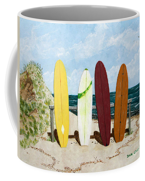 Surfing Coffee Mug featuring the painting Surfboards by Dan O'Neill