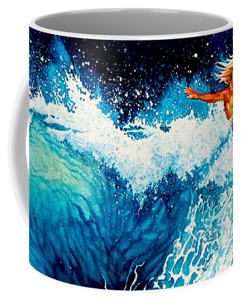Sports Art Coffee Mug featuring the painting Surfer Girl by Hanne Lore Koehler