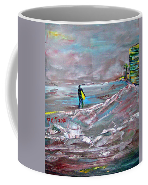 Surfer Coffee Mug featuring the painting Surfer On A Foggy Day by Patricia Taylor