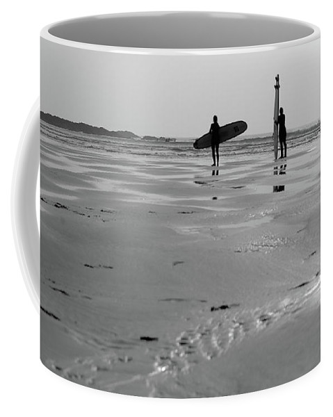 Helen Northcott Coffee Mug featuring the photograph Surfer Silhouettes by Helen Northcott