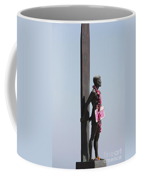 Surfer Statue Coffee Mug featuring the photograph Surfer Statue by Carol Groenen