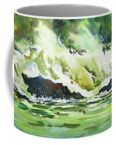 Surf Coffee Mug featuring the painting Surfers Dream by Mohamed Hirji