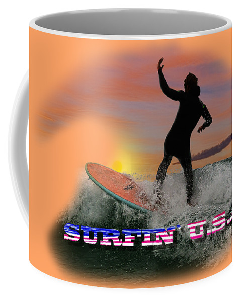 Surfing Coffee Mug featuring the photograph Surfing U.s.a. by Rob Lester