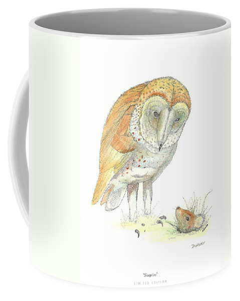 Owl Standing Over Field Mouse Coffee Mug featuring the drawing Surprise by David Weaver