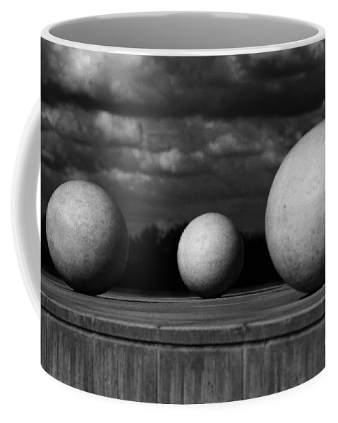 Black And White Coffee Mug featuring the photograph Surreal Globes by Peter Piatt