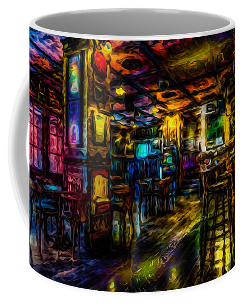 World's Coffee Mug featuring the digital art Surreal Old West Bar by Ron Fleishman