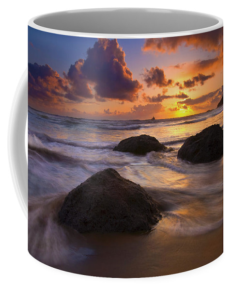 Sunset Coffee Mug featuring the photograph Surrounded By The Sea by Mike Dawson
