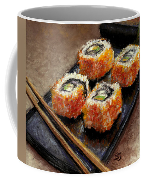 Food Coffee Mug featuring the painting Sushi 2 by Susan Jenkins