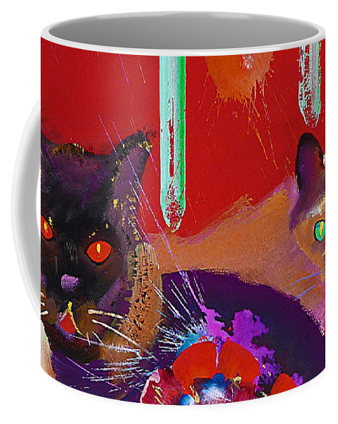 Cat Coffee Mug featuring the painting Suspicious Minds by Charles Stuart