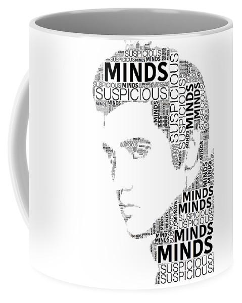 Alicegipsonphotographs Coffee Mug featuring the digital art Suspicious Minds Elvis Wordart by Alice Gipson