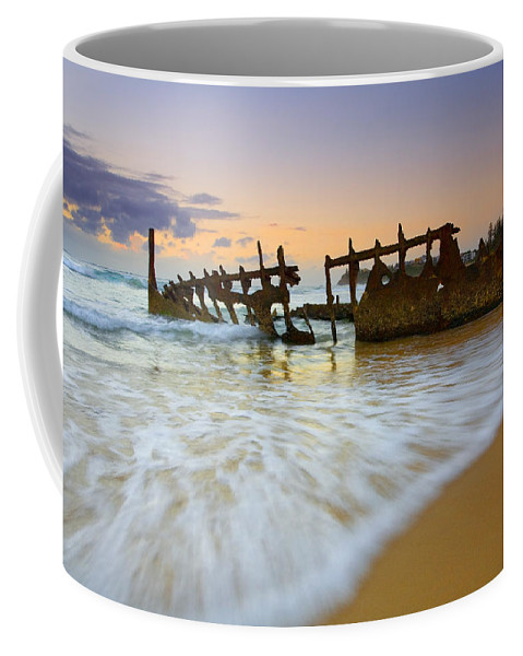 Shipwreck Coffee Mug featuring the photograph Swallowed By The Tides by Mike Dawson