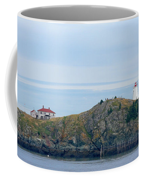 Lighthouse Coffee Mug featuring the photograph Swallowtail Lighthouse And Keeper by Thomas Marchessault