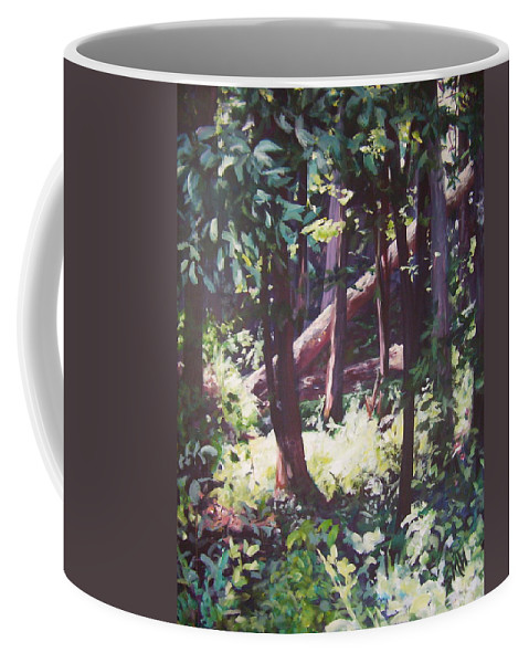 Landscape Coffee Mug featuring the painting Swamp Glow by Sheila Holland