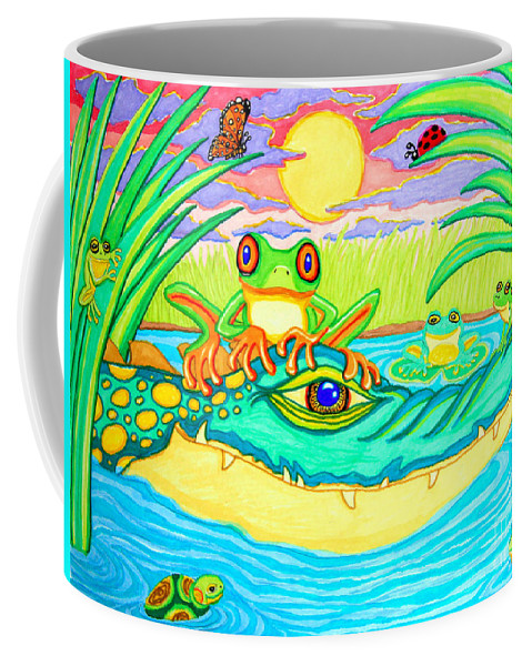 Frog Coffee Mug featuring the drawing Swamp Life by Nick Gustafson