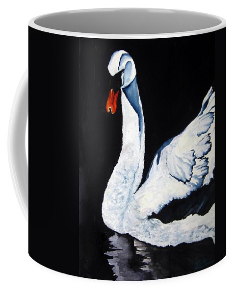 Lil Taylor Coffee Mug featuring the painting Swan In Shadows by Lil Taylor