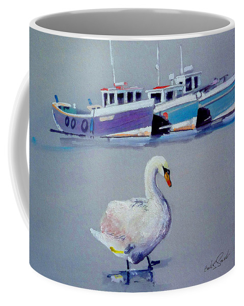 Swan Coffee Mug featuring the painting Swan Lake With Pleasure Boats by Charles Stuart
