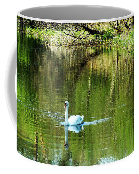 Irish Coffee Mug featuring the photograph Swan On The Cong River Cong Ireland by Teresa Mucha